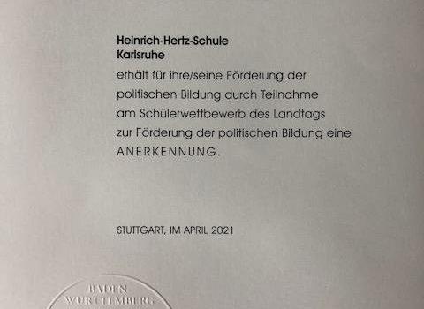 3. Platz beim Schülerwettbewerb des Landtags von BW